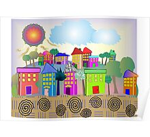 "Whimsical Village ""The Cottages"" Poster"