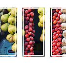 Beauty in tomatoes, garlic and pears triptych by Silvia Ganora