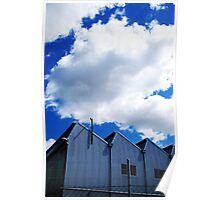 Clouds and metal points to the sky Poster