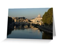 Rome - Iconic View of Saint Peter's Basilica Reflecting in Tiber River Greeting Card