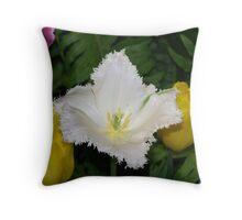 white feathered Tulip Throw Pillow