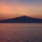 Sunset silhouette of Mt. Etna  by Lauren Banks