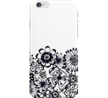 Black transparent flowers sketch iPhone Case/Skin