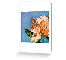 Periwinkle, peach magnolias, green butterfly vintage elements Greeting Card