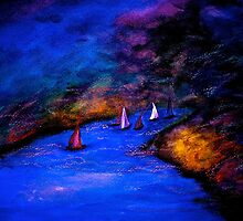 Landscape...Moon's Journey Pt 3...Night on the Great River by ©Janis Zroback