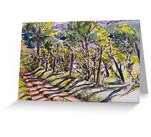 Vineyard, early morning. La Vigna Italy pen and wash 2010Ⓒ Greeting Card