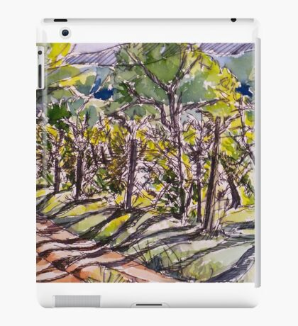 Vineyard, early morning. La Vigna Italy pen and wash 2010Ⓒ iPad Case/Skin