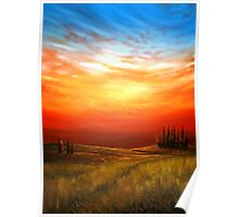 Sunset over the Wheatfield Poster