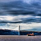 Rolling, Rolling, Rolling on the River (River Tug and Barge Beneath the George Washington Bridge HDR) by Dave Bledsoe