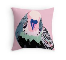 Budgie in Pink Throw Pillow
