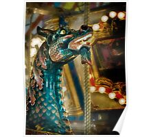 Colorful carousel dragon Poster