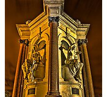 Queen Victoria Statues at Night Photographic Print
