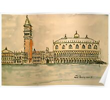 St Mark's Venice, Italy. 2010 Pen and wash.  Poster