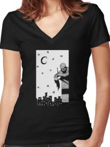 Robot Attack! Women's Fitted V-Neck T-Shirt