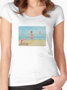 Young girl and sea II Women's Fitted Scoop T-Shirt
