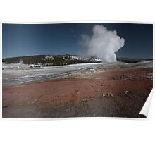 Old Faithful Explodes - Yellowstone NP Poster
