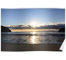 Sunrise over Bark Bay, Abel Tasman NP, New Zealand Poster