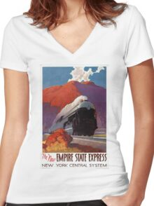 Empire State Express Vintage Poster Restored Women's Fitted V-Neck T-Shirt