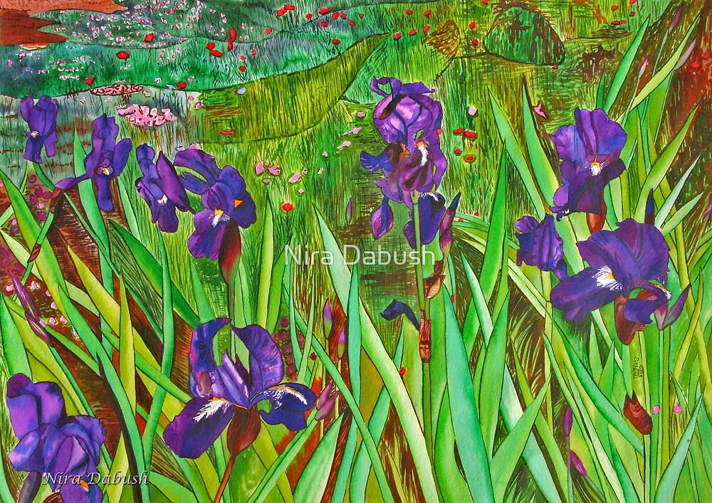 The Deep Purple Irises Field by Nira Dabush