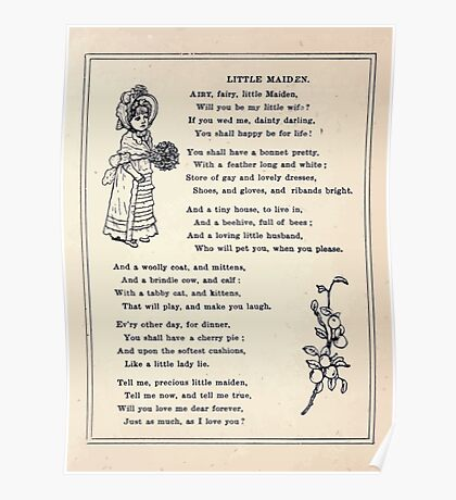 Miniature Under the Window Pictures & Rhymes for Children Kate Greenaway 1880 0031 Little Maiden Poster