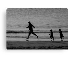 Dad & the Kids Black & White Canvas Print