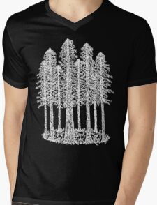 Coastal Redwoods Cathedral Ring Sketch - White Mens V-Neck T-Shirt