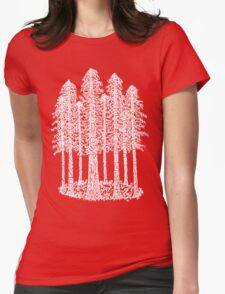 Coastal Redwoods Cathedral Ring Sketch - White Womens Fitted T-Shirt