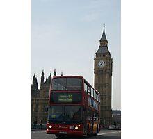 A Double Decker Bus At Big Ben Photographic Print