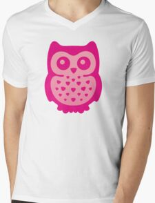 Cute Pink Baby Owl Mens V-Neck T-Shirt
