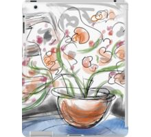 Orange flowers on a Blue Table iPad Case/Skin