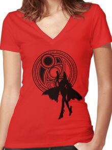 Umbra Witch Seal Bayonetta Silhouette Women's Fitted V-Neck T-Shirt