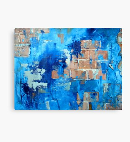 Behind the blue painted wall Canvas Print
