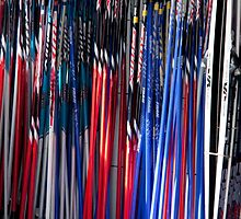Skis And Poles by phil decocco
