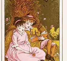 Flowers & Fancies Valentines Ancient & Modern Montgomerie Ranking art Kate Greenaway 1882 0091 Reading by a Hay Stack by wetdryvac