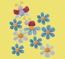 Flowers and ladybugs One Piece - Short Sleeve