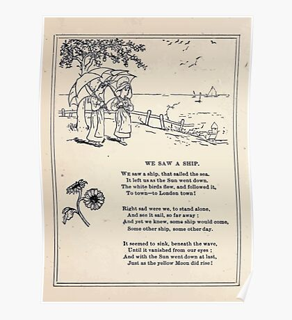 Miniature Under the Window Pictures & Rhymes for Children Kate Greenaway 1880 0044 We Saw a Ship Poster