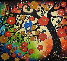 """""""Lovebirds"""" Original Painting Bird Tree Whimsical Art by hjmart"""