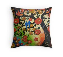 """Lovebirds"" Original Painting Bird Tree Whimsical Art Throw Pillow"