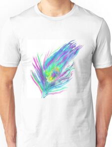 Abstract peacock feather bright watercolor paint Unisex T-Shirt