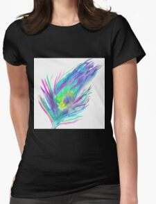 Abstract peacock feather bright watercolor paint Womens Fitted T-Shirt
