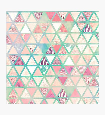 Pink Turquoise Abstract Floral Triangles Patchwork Photographic Print