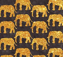 Whimsical Gold Glitter Elephants Pattern on Gray by GirlyTrend