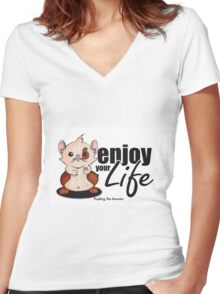 Pudding the hamster - enjoy your life Women's Fitted V-Neck T-Shirt