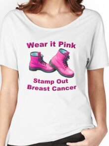 Wear It Pink Stamp Out Breast Cancer Women's Relaxed Fit T-Shirt