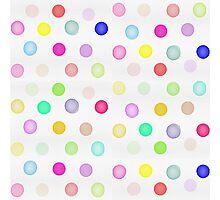 Girly Bright Pastel Rainbow Watercolor Polka Dots Photographic Print