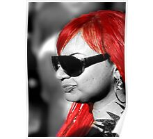 Red hair on black and white Poster