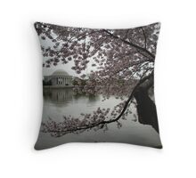 Cherry Blossoms Tidal Basin Jefferson Memorial Throw Pillow