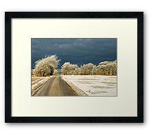 Winter landscape. Snowstorm coming up Framed Print