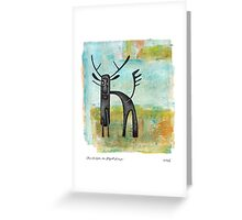 Moose Contraption Near Waterfall Landscape Greeting Card