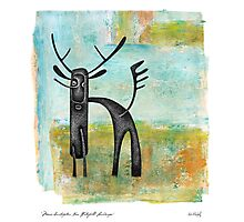 Moose Contraption Near Waterfall Landscape Photographic Print